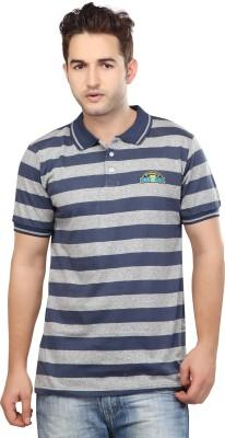 Free Spirit Striped Men's Polo Blue, Grey T-Shirt