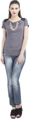 Remanika Solid Women's Draped Neck Grey, Black T-Shirt