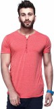 Tinted Solid Men's Henley Red T-Shirt