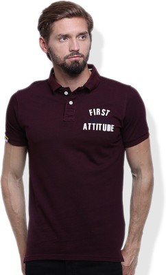 GOINDIASTORE Solid Men's Polo Neck Maroon T-Shirt