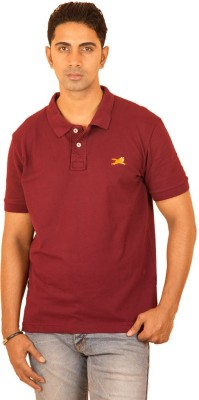 Bleidd Solid Men's Polo Neck Maroon T-Shirt