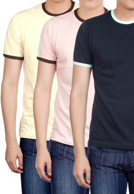Basics Solid Men's Round Neck Pink T-Shirt