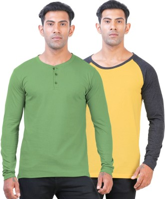 Click Hit Solid Men's Round Neck Yellow, Light Green T-Shirt