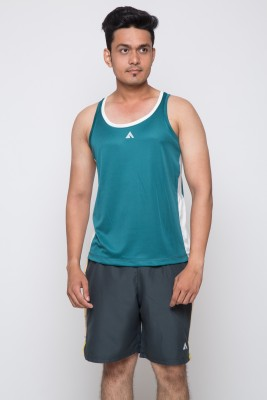 Acetone Solid Men's Scoop Neck Green, Silver T-Shirt