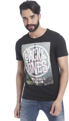 Jack & Jones Graphic Print Mens Round Neck Black T-Shirt