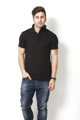 Gritstones Solid Men's Polo Black T-Shirt