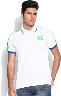 Harvard Solid Men's Polo Neck White T-Shirt