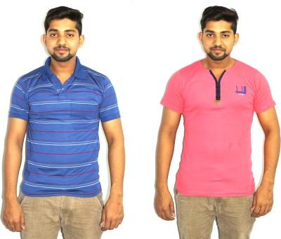 99DailyDeals Printed Men,s V-neck Multicolor T-Shirt
