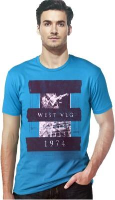 Gallop Printed Men's Round Neck Blue T-Shirt