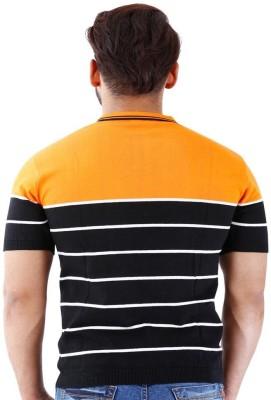 La MODE Striped Men's Polo Neck Multicolor T-Shirt