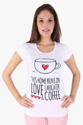 Honey by Pantaloons Printed Women's Round Neck White T-Shirt