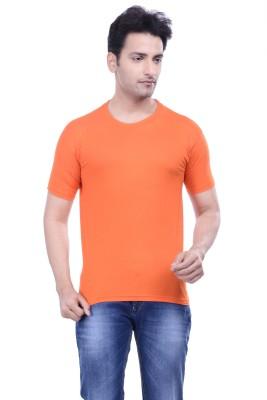 MKM Solid Men's Round Neck Orange T-Shirt
