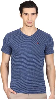 Monte Carlo Striped Men's V-neck Blue T-Shirt