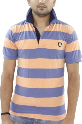 Grey Tree Striped Men,s Polo Neck Light Blue T-Shirt