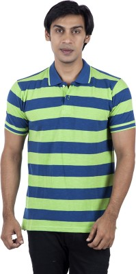 Stop To Start by Shoppers Stop Striped Men,s Polo Neck Blue T-Shirt