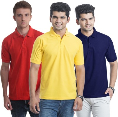 Bainsons Solid Men,s Polo Yellow, Red, Blue T-Shirt