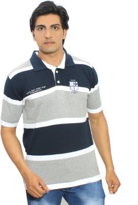 Thread Craft Striped Men's Polo Neck Grey, Blue T-Shirt