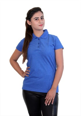 WASP Embroidered Women's Polo Neck Blue T-Shirt