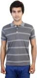 SHRA Striped Men's Polo Neck Grey, White...