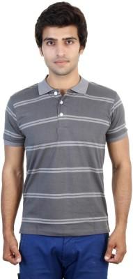 Shra Striped Men's Polo Neck Grey, White T-Shirt