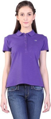 Kidley Solid Women's Polo Neck Purple T-Shirt
