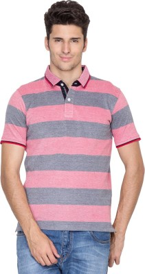 Fort Collins Striped Men's Polo Neck Pink, Grey T-Shirt