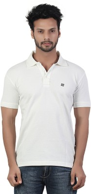 Afylish Solid Men's Polo Neck White T-Shirt