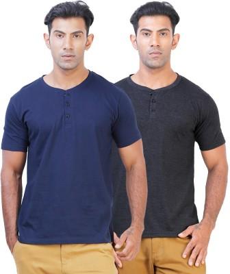 Click Hit Solid Men's Henley Blue, Black T-Shirt