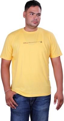Vivid Bharti Printed Men's Round Neck Yellow T-Shirt