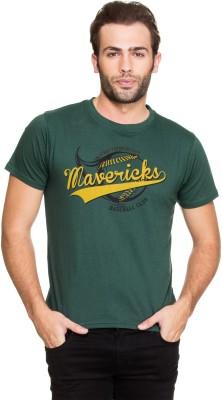 Zovi Printed Men's Round Neck Green T-Shirt