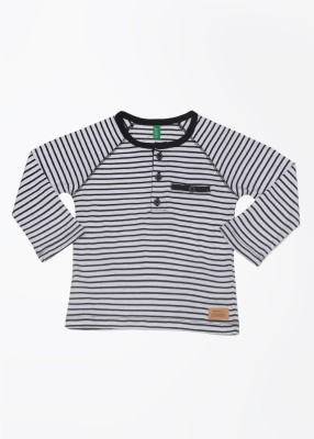 United Colors of Benetton Striped Boy's Henley White, Black T-Shirt