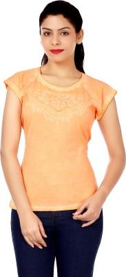 INSTINCT Solid Women's Round Neck Orange T-Shirt
