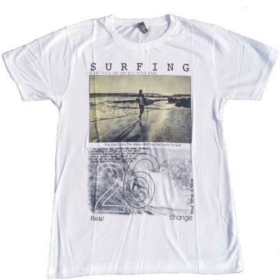 niue Graphic Print Men's Round Neck White T-Shirt
