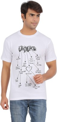 Griteez Printed Men's Round Neck White T-Shirt