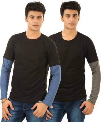 BrownBird Solid Men's Round Neck Black T-Shirt