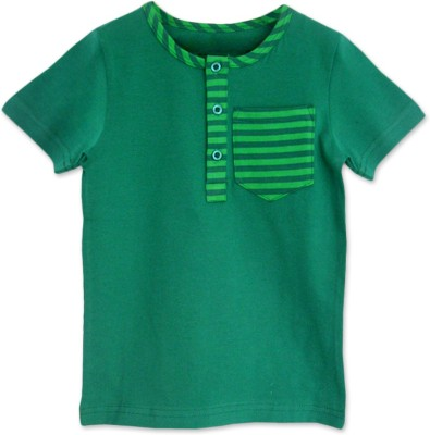 ATUN Solid Boy's Henley Green T-Shirt