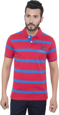 GreyBooze Striped Men's Polo Red, Blue T-Shirt