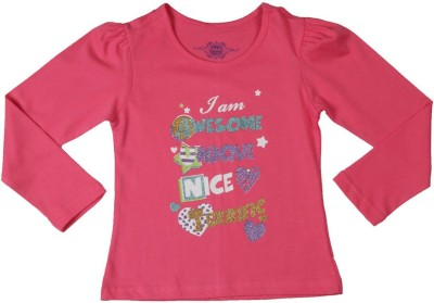 Chalk by Pantaloons Printed Girl's Round Neck Pink T-Shirt