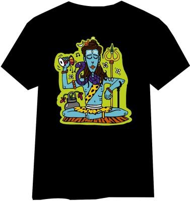HINDUKUSH Self Design Men's Round Neck Black T-Shirt