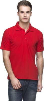 Lambency Solid Men's Polo Neck Red T-Shirt