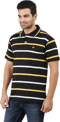6P6 Striped Men's Polo Neck Black, Yellow, White T-Shirt