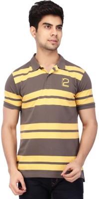 ACROPOLIS by Shoppers Stop Striped Men's Polo Yellow T-Shirt