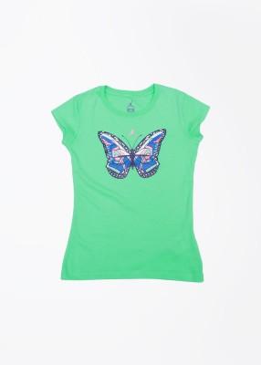 Jordan Kids Printed Girl's Round Neck Green T-Shirt
