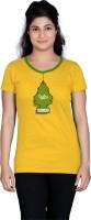 Tantra Women's Clothing - Tantra Printed Women's Round Neck Yellow T-Shirt