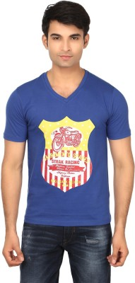 Strak Printed Men's V-neck Blue T-Shirt
