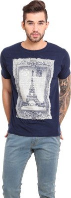 Mode Vetements Printed Men's Round Neck Blue T-Shirt