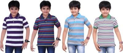Dongli Striped Boy's Polo Neck Purple, Blue, Light Blue, White T-Shirt