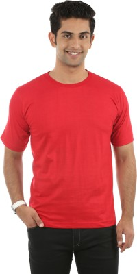 Fidato Solid Men's Round Neck Red T-Shirt