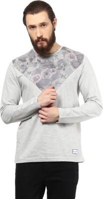 Atorse Printed Men's Round Neck Grey T-Shirt