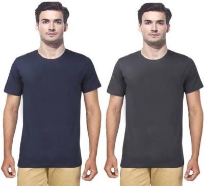 Gallop Solid Men's Round Neck Grey, Dark Blue T-Shirt